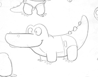 Baby Croc Character Study - 2D Hand-Drawn Animation