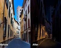 Italy street at night