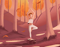 Yoga in the morning trees