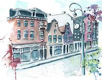 Amsterdam Watercolor Street