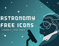 Astronomy Free Icons – In Memory of Stephen Hawking