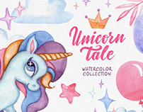 Unicorn Tale. Watercolor collection