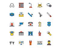Prison Guard Icons Set