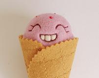 """""""Scoopsie Strawberry"""", ice cream scoop Art Toy"""