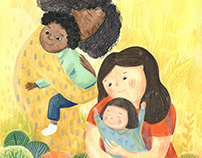 Illustration for postcard about women and kids.