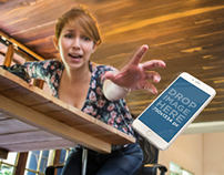 iPhone 6 Mockup of a Young Woman Dropping her iPhone