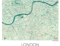 London, UK. Map Blue vintage watercolor.