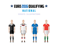EURO CUP 2016 Football jersey illustrations