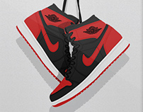 Retro Air Jordan Hanging Kicks Illustrations