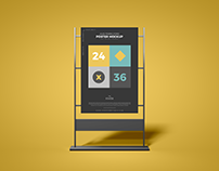 24x36 Framed Stand Poster Mockup Free