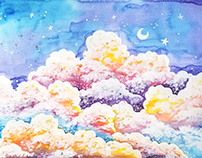 Mixed Media Colorful Clouds Painting
