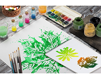 Watercolor prints of true leaves