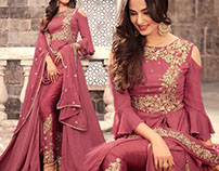 Pretty Light Beige Net Floor Length Gown Dress By DNU