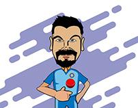Virat Kohli caricature and animation