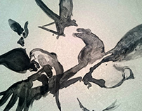 Ink birbs - Lithography