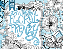 Fantastical Floral Frenzy Vector, Line Art Illustration