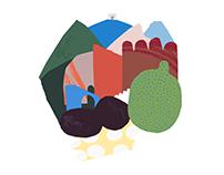 """Bologna"" papercut illustration"