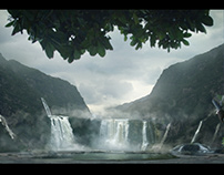 Waterfalls matte painting