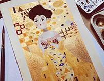 Woman in Gold | Gustav Klimt watercolor