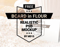 Business Card in Flour - Free PSD Mockup