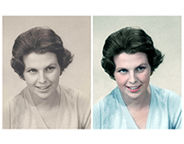 Colorisation of a photograph of a woman