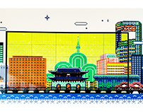 'Urban Tradition' wework mural project / Pixel Art