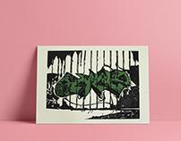 Graffiti Linocut Print