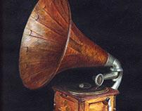 Gramophone, acrylic on cardboard