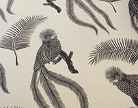 Quetzal bird wallpaper design | Linocut | 2016