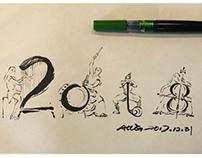 遇见·篇章。发现小本子最后一页了,好巧,画了得了!祝各位,2108,奏响动听乐章!新年见!