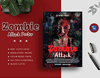 Zombie Attack Movie Poster Design