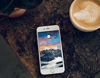 Free iPhone With Coffee Cup Mockup