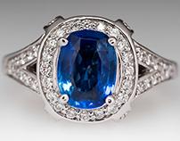 2.5 Carat Unheated Blue Sapphire Diamond Ring GIA