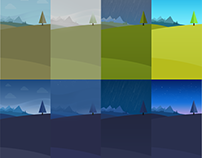 Flat Weather backgrounds design for Android App.