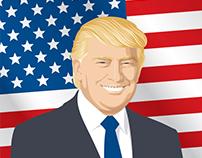 Vector illustration of a Donald Trump