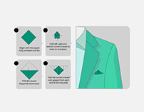 7 Ways to fold PocketSquare - Infographics