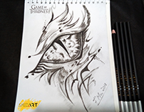 Game of Thrones Dragon Eye Sketch by Charcoal Pencil