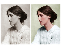 Colorisation of a photograph of Virginia Woolf
