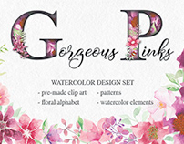 Watercolor design set in gorgeous pinks