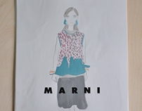 MARNI runway fashion illustrations