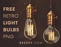 Free Retro Light Bulbs PNG Graphics