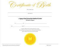 Birth Certificate for Legacy Health