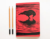Black Crow-Linoleum Block Printed Hand Bound Notebook.