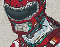 MECHASOUL RED RANGER FINE ART PRINT