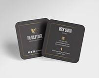 Gold & Black Square Business Card
