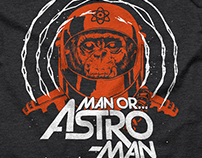 "MAN OR ASTRO-MAN? ""Space Monkey shirt & enamel pins"""