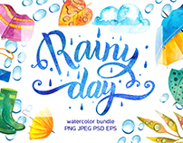 Rainy day - watercolor bundle