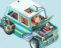 Digital Illustrations for advertising. Bankia