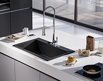 Kitchen sinks and faucets - full CGI.