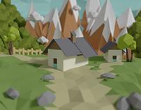 Low polygon mountain city